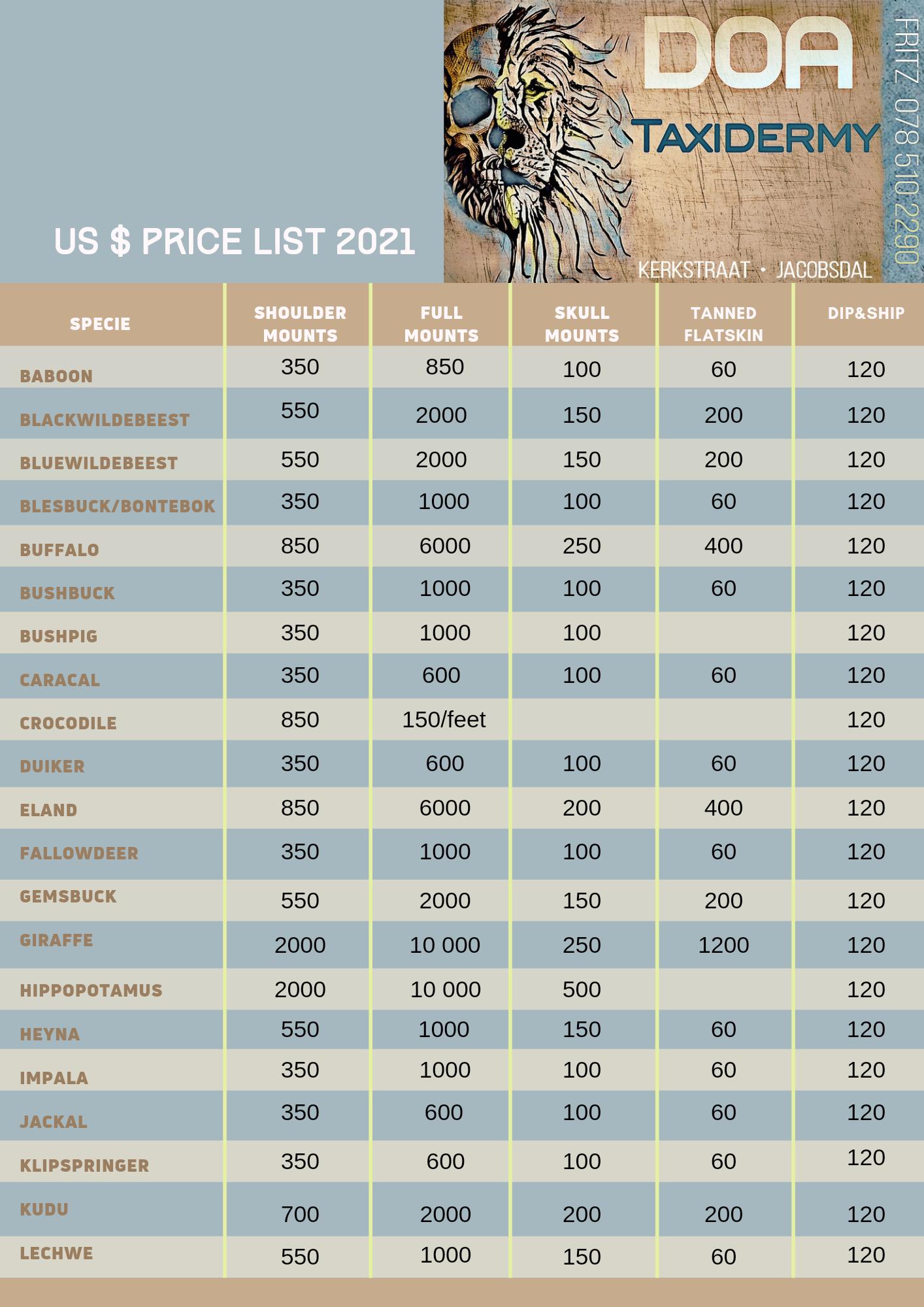 DOA Taxidermy Price List